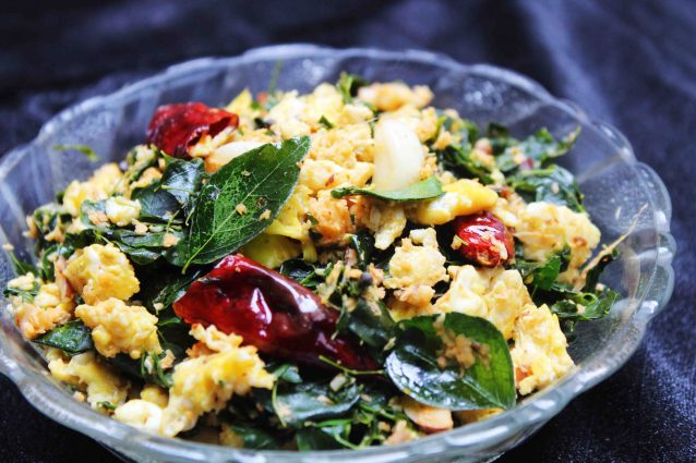 drumstick leaves and egg stir fry