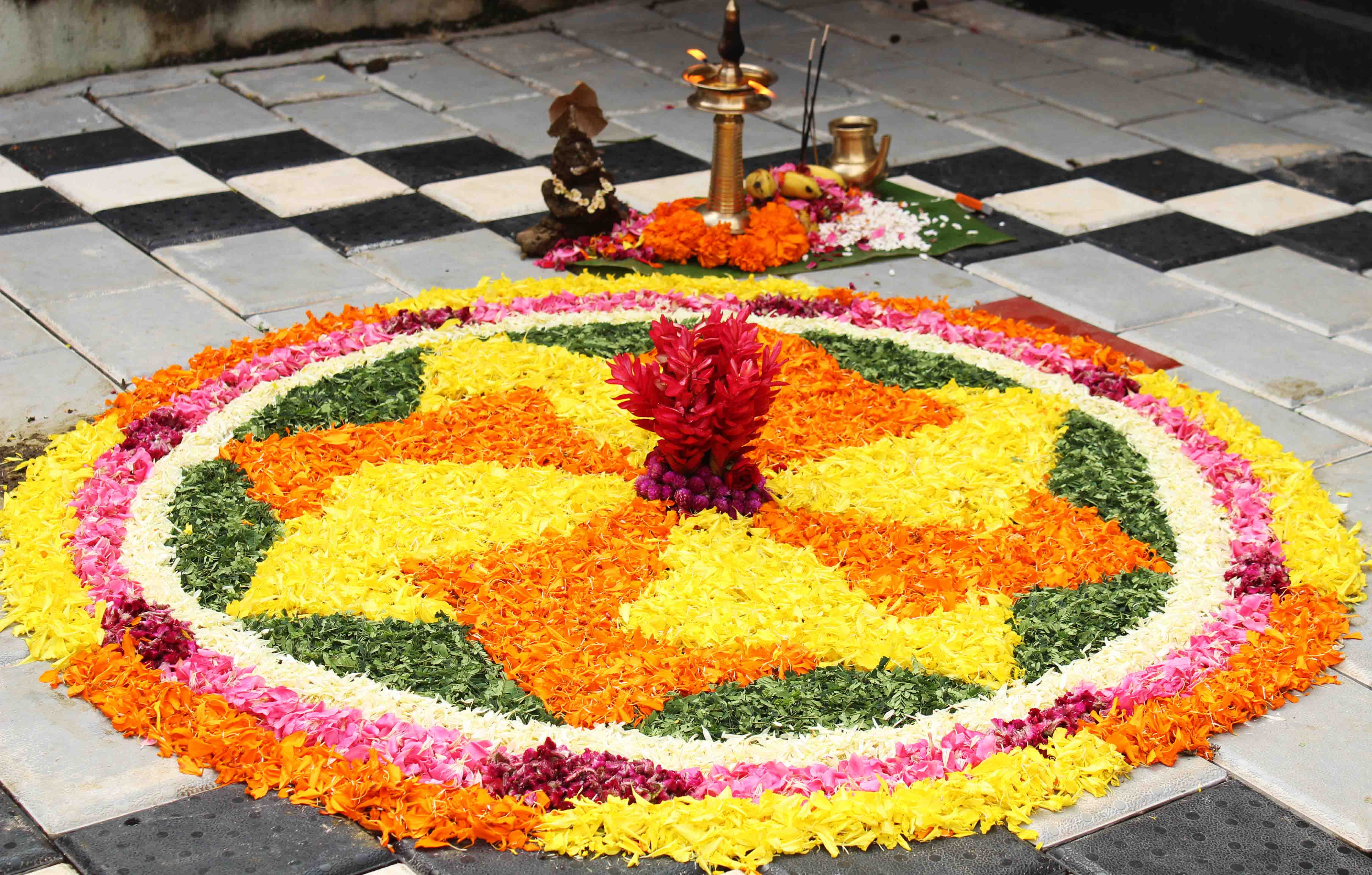 Pookalam- floral design is one of the most famous Onam tradition