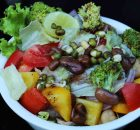 beans, broccoli and sprouts salad