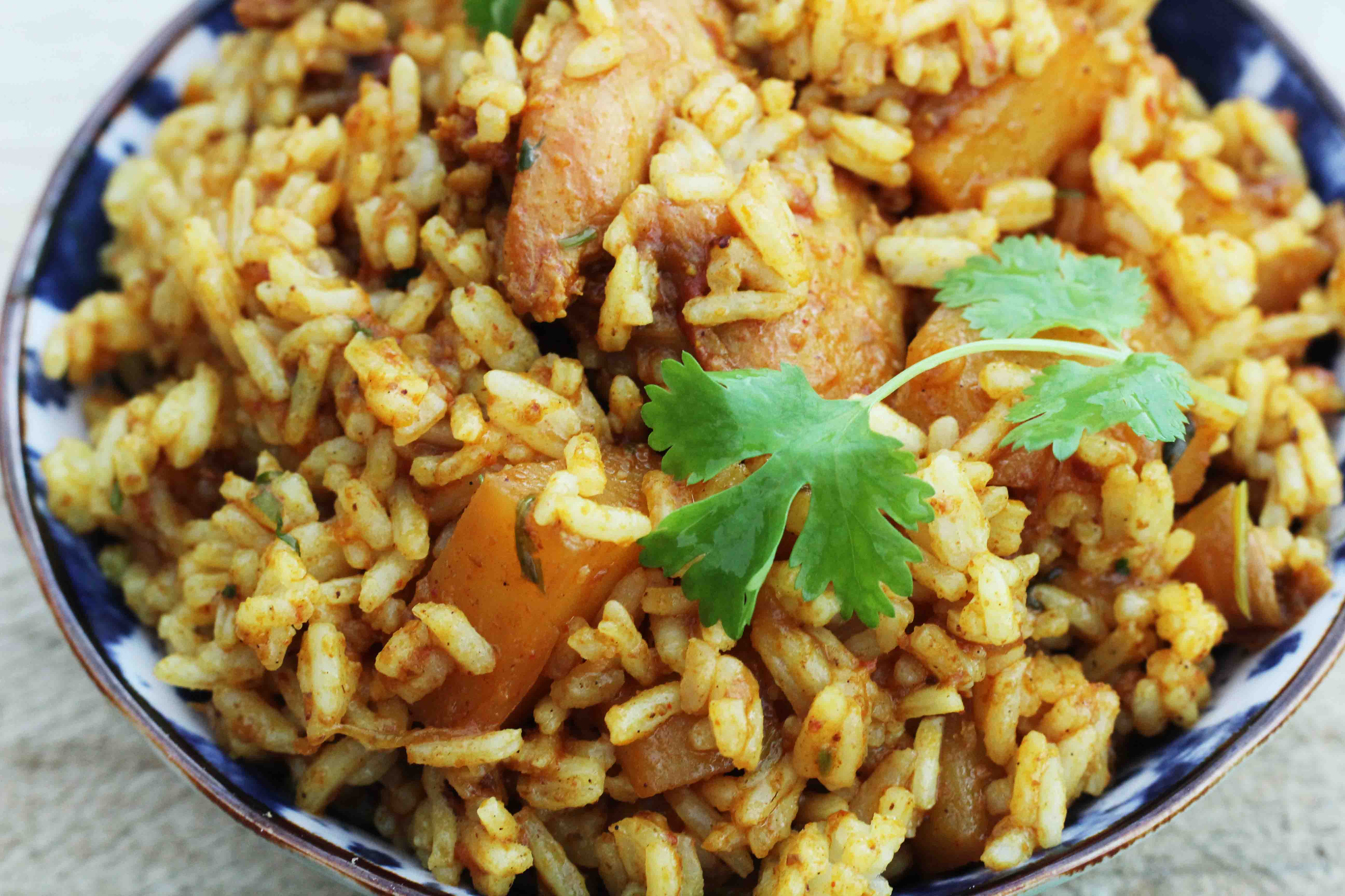 curried chicken potato rice recipe